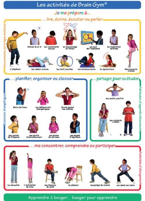 """Affiche A1 """"Les activités de Brain Gym"""" - Enfants"""